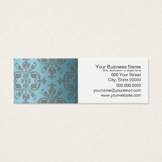 Extravaganter aquamariner blauer und grauer Damast Mini Visitenkarte