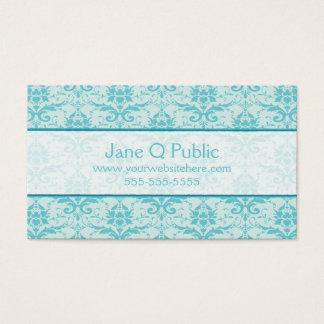 Extravaganter Eierschalen-Blau-Damast Visitenkarte
