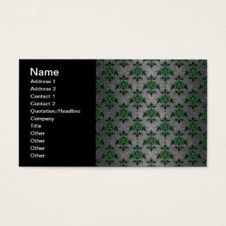 Extravaganter grüner grauer doppelter Damast Visitenkarte