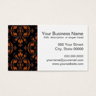 Extravaganter orange und schwarzer Damast Visitenkarte