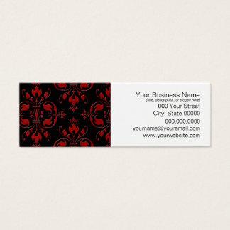 Extravaganter roter und schwarzer Damast Mini Visitenkarte