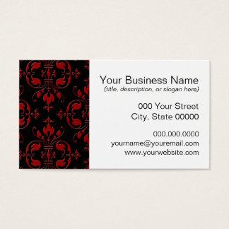 Extravaganter roter und schwarzer Damast Visitenkarte