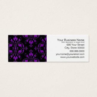 Extravaganter schwarzer und lila Damast Mini Visitenkarte