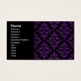 Extravaganter schwarzer und lila Damast Visitenkarte
