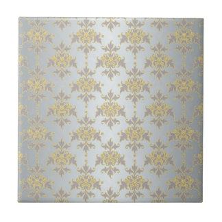 Extravaganter silberner weißer und gelber Damast Kleine Quadratische Fliese