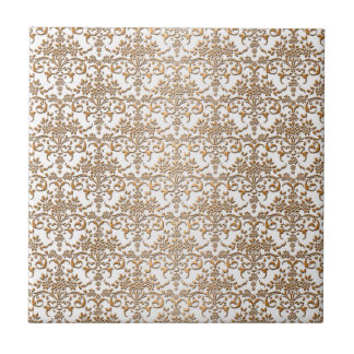 Extravagantes Gold und weißes Damast-Muster Kleine Quadratische Fliese