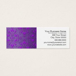 Extravagantes lila Damast-Muster Mini Visitenkarte