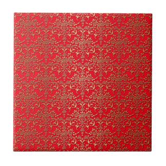 Extravagantes Rot-und Golddamast-Muster Kleine Quadratische Fliese