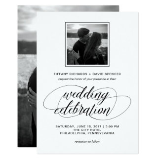 Extravagantes Skript-Hochzeits-Schwarzweiss-Foto 12,7 X 17,8 Cm Einladungskarte