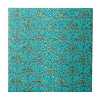 Extravagantes Türkis-und Golddamast-Muster Kleine Quadratische Fliese