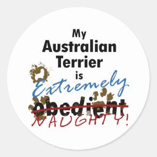 Extrem freches australisches Terrier Runder Aufkleber