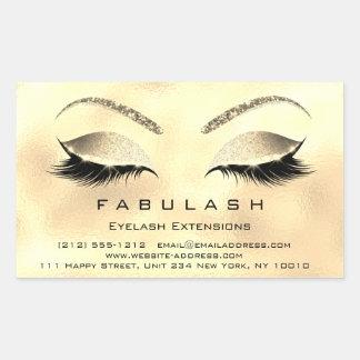 Eyelash Extension Makeup Beauty Salon Gold Glitter Rechteckiger Aufkleber