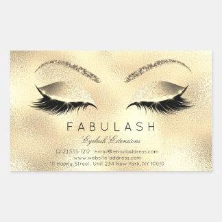 Eyelash Extension Makeup Beauty Salon Lux Glitter Rechteckiger Aufkleber