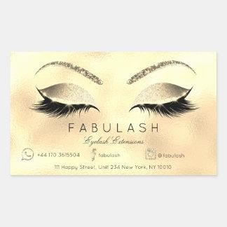 Eyelash Extension Makeup Beauty Salon Lux Gold VIP Rechteckiger Aufkleber
