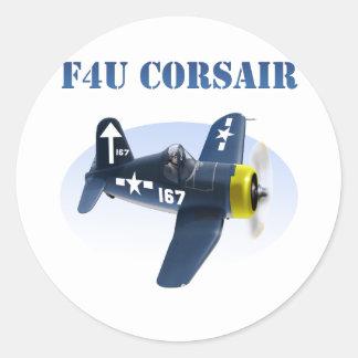 F4U Seeräuber-Flugzeug #167 Runder Aufkleber