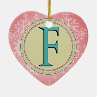 F-MONOGRAMM-BUCHSTABE KERAMIK Herz-Ornament