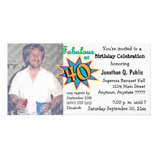 Fabelhaft bei 40 Geburtstags-Party-Foto-Einladung Fotogrußkarten