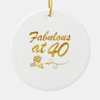 Fabelhaft bei 40 Jahren Rundes Keramik Ornament