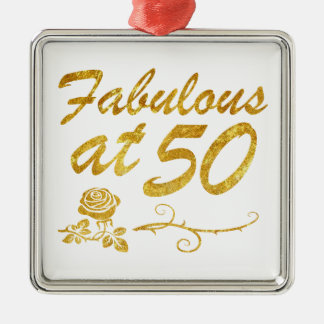 Fabelhaft bei 50 Jahren Quadratisches Silberfarbenes Ornament