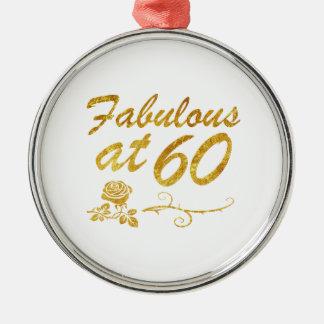 Fabelhaft bei 60 Jahren Rundes Silberfarbenes Ornament