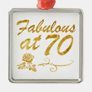 Fabelhaft bei 70 Jahren Quadratisches Silberfarbenes Ornament