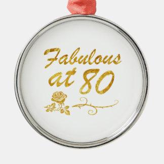 Fabelhaft bei 80 Jahren Rundes Silberfarbenes Ornament