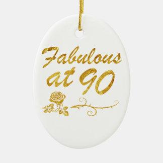 Fabelhaft bei 90 Jahren Ovales Keramik Ornament