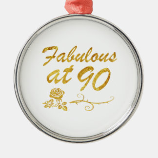 Fabelhaft bei 90 Jahren Rundes Silberfarbenes Ornament