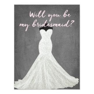 Fabelhafte Brautjungfer des Kleid| 10,8 X 14 Cm Einladungskarte
