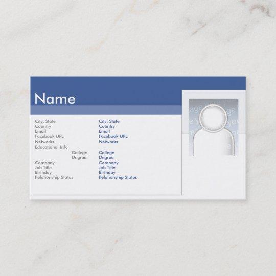Facebook Geschäft Visitenkarte Zazzle At