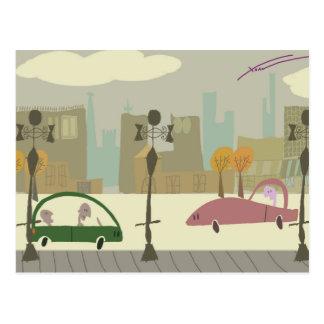 Fahren in die Stadt Postkarten