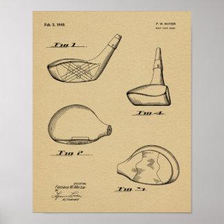 Fahrer-Golf-Verein-Patent-Kunst 1948, die Druck Poster