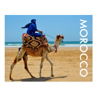 Fahrkamel-Küstenstrand Marokkos arabischer Postkarte