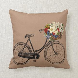 Fahrrad-Blume Throwkissen des Taupe braunes Kissen