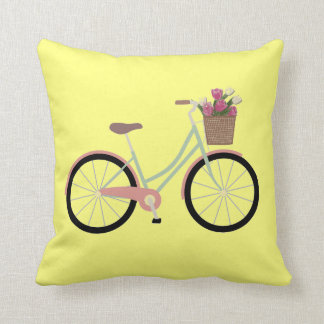 Fahrrad-Blume Throwkissen des zitronengelben Gelbs Kissen