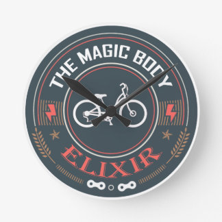 Fahrrad, magisches Körper-Elixier Runde Wanduhr