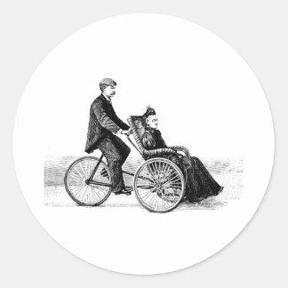 Fahrrad-Rollstuhl - Vintage viktorianische Runde Sticker