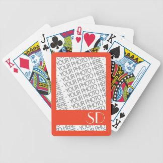Fahrrad-Spielkarten, Foto u. Monogramm-Schablone Poker Karten