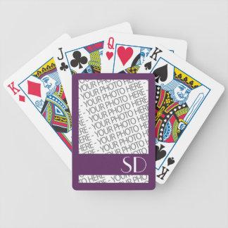 Fahrrad-Spielkarten, Foto u. Monogramm-Schablone Pokerkarten