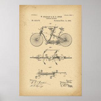 Fahrrad Tandem mit 1889 Patenten Poster