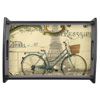 Fahrradparis Eiffel des Chicreisenden Vintager Serviertablett