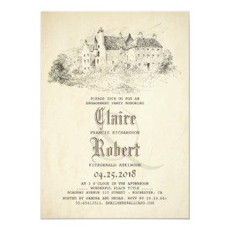 Fairytale-altes Schloss-Vintages Verlobungs-Party Karte