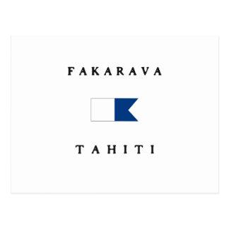 Fakarava Tahiti Alphatauchen-Flagge Postkarte