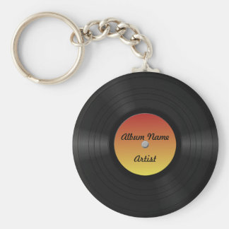 Fake-kundenspezifische Vinylaufzeichnung Standard Runder Schlüsselanhänger
