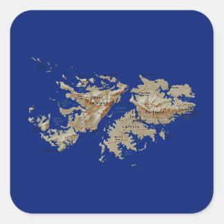 Falklandinseln-Karten-Aufkleber Quadratischer Aufkleber