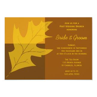 Fall-Blatt-Farbblock-Posten-Hochzeits-Brunch laden 12,7 X 17,8 Cm Einladungskarte
