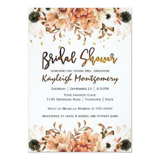 Fall-Blumen und fallendes Blätter-Brautparty 12,7 X 17,8 Cm Einladungskarte