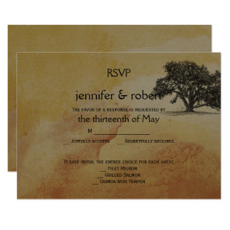 Fall-Eichen-Schnur beleuchtet Hochzeits-Wartekarte 8,9 X 12,7 Cm Einladungskarte