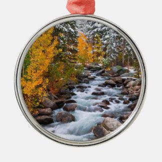 Fall entlang Bischofsnebenfluß, Kalifornien Rundes Silberfarbenes Ornament