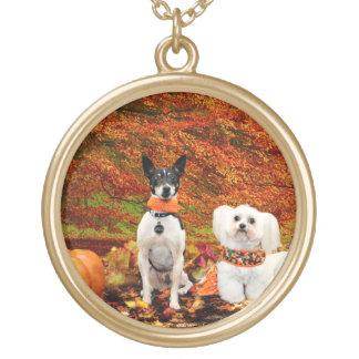 Fall-Erntedank - Monty Fox-Terrier u. Milly Malz Vergoldete Kette